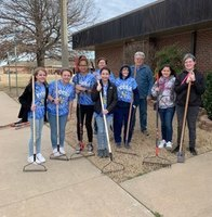 FCCLA volunteering at The Oklahoma Baptist Home for Children.  Students raked leaves and filled mole holes.  Afterwards, students learned about the history and services of OBHC.