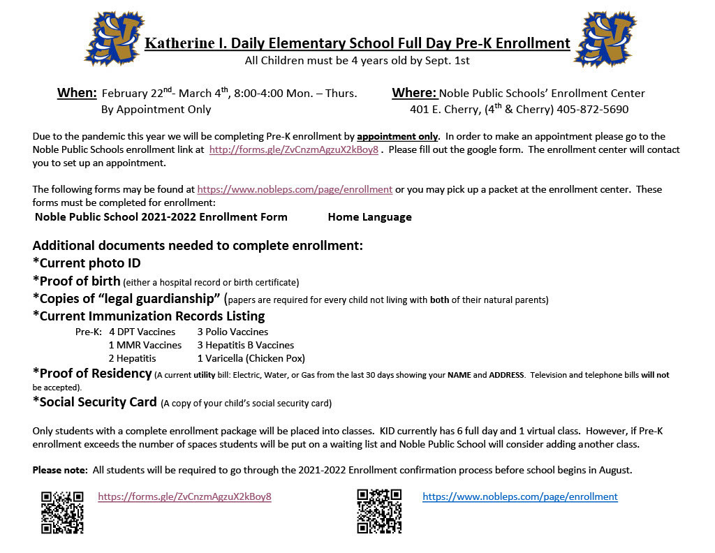 Pre-K Enrollment Announcement